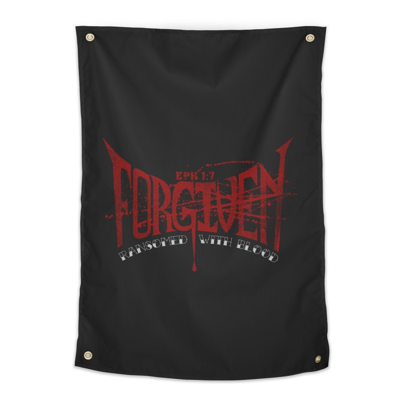 Forgiven: Ransomed with Blood Home Tapestry by Stand Forgiven ✝ Bible-inspired designer brand