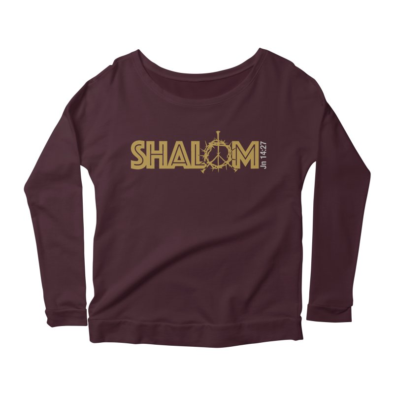 Shalom Women's Longsleeve Scoopneck  by Stand Forgiven ✝ Bible-inspired designer brand