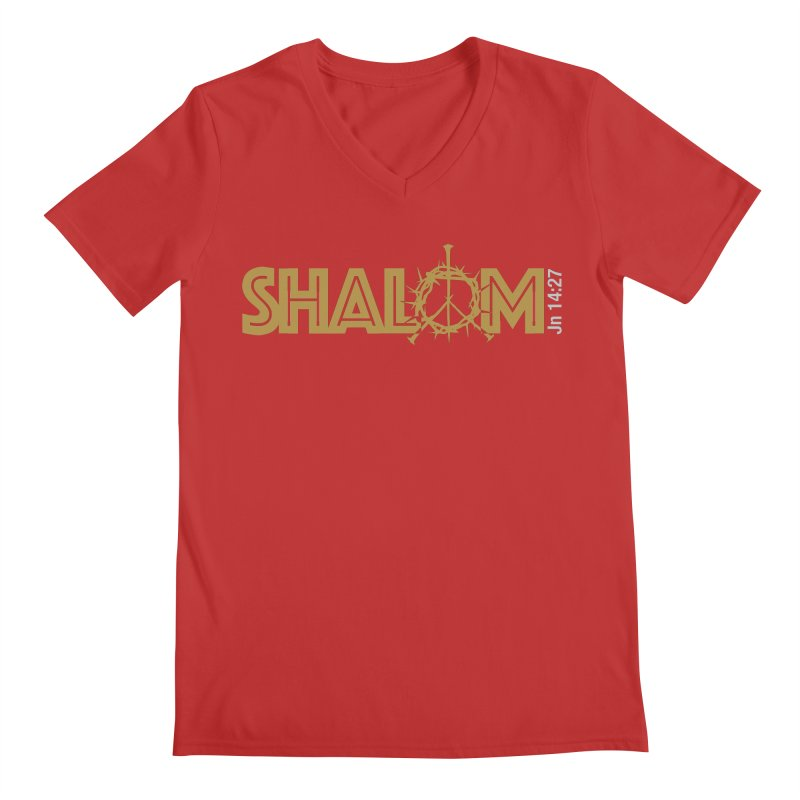 Shalom Men's Regular V-Neck by Stand Forgiven ✝ Bible-inspired designer brand