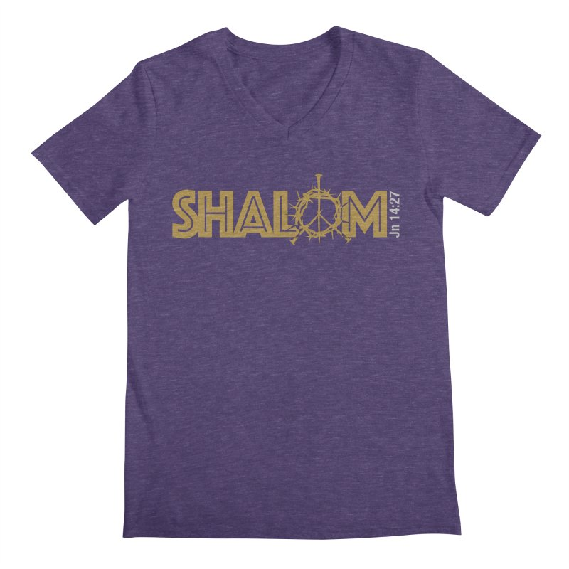 Shalom Men's Regular V-Neck by Stand Forgiven ✝ Bible-inspired designer brand