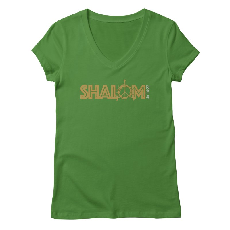 Shalom Women's V-Neck by Stand Forgiven ✝ Bible-inspired designer brand