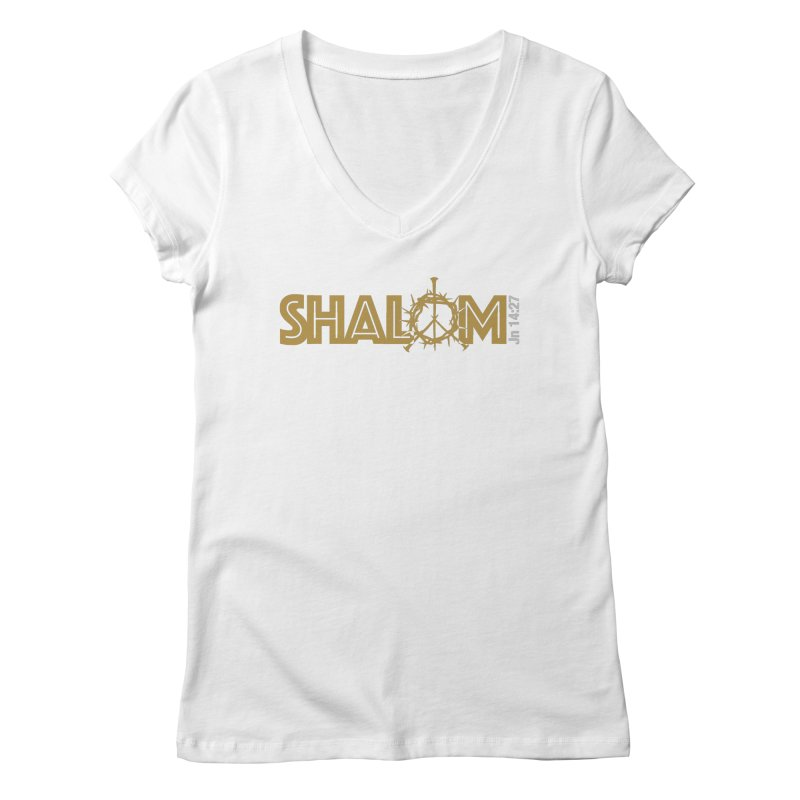 Shalom Women's Regular V-Neck by Stand Forgiven ✝ Bible-inspired designer brand
