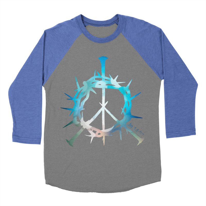 Peace be with You Men's Baseball Triblend T-Shirt by Stand Forgiven ✝ Bible-inspired designer brand