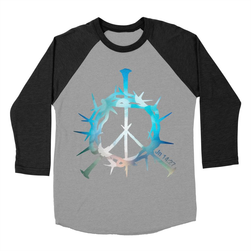 Peace be with You Men's Baseball Triblend Longsleeve T-Shirt by Stand Forgiven ✝ Bible-inspired designer brand