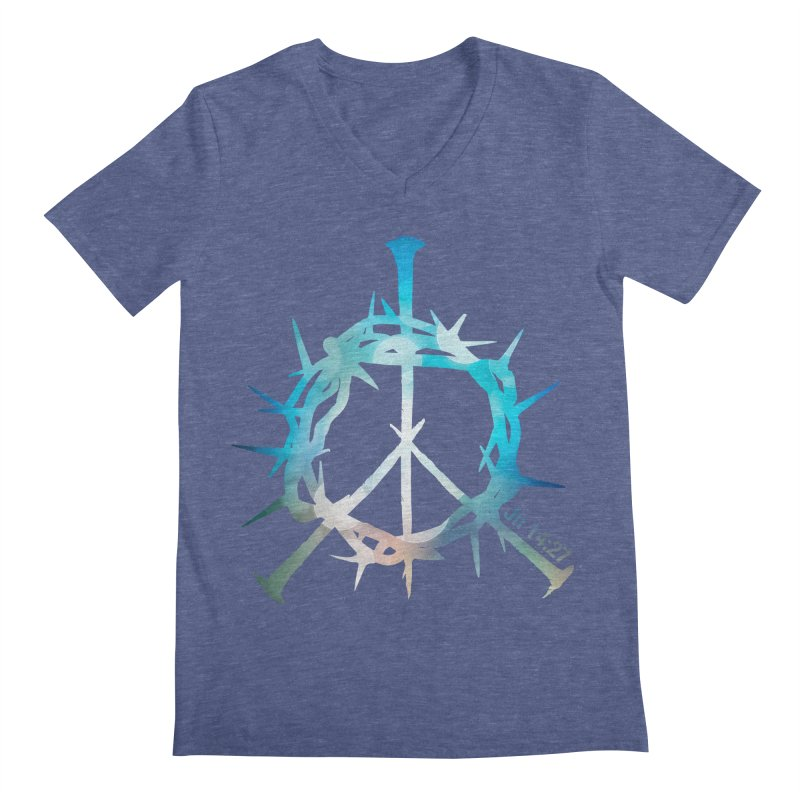 Peace be with You Men's Regular V-Neck by Stand Forgiven ✝ Bible-inspired designer brand