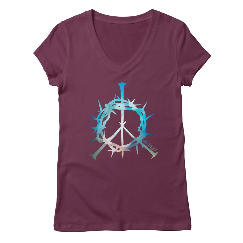Peace be with You Women's Regular V-Neck by Stand Forgiven ✝ Bible-inspired designer brand