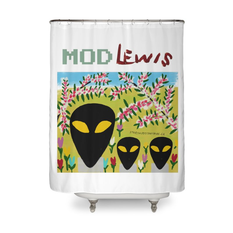 Mod Lewis 3 Aliens Home Shower Curtain by starshipsstarthere's Artist Shop