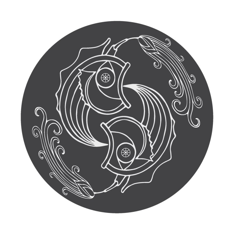 Deco Fish Twins Logo Black and White Accessories Sticker by starstar's Artist Shop