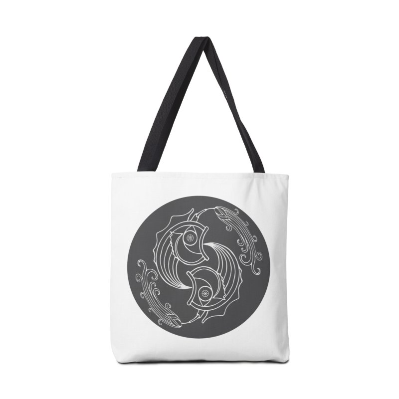 Deco Fish Twins Logo Black and White Accessories Bag by starstar's Artist Shop