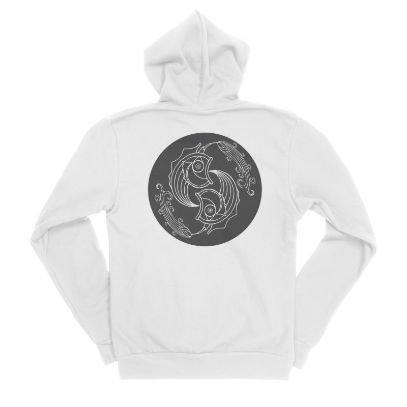 Deco Fish Twins Logo Black and White Women's Zip-Up Hoody by starstar's Artist Shop