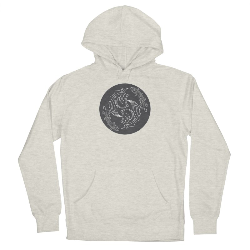 Deco Fish Twins Logo Black and White Men's French Terry Pullover Hoody by starstar's Artist Shop