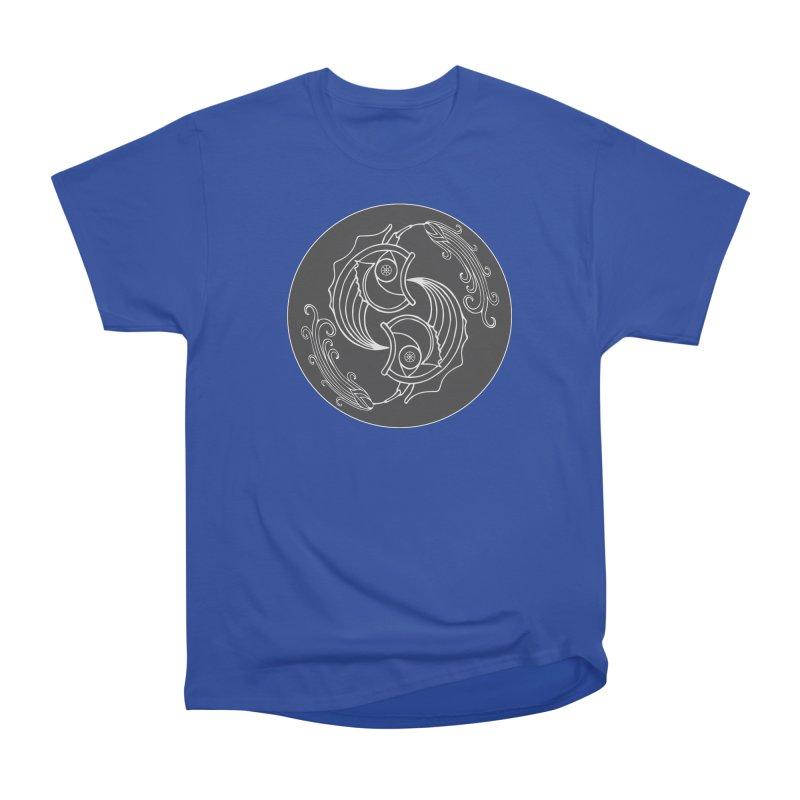 Deco Fish Twins Logo Black and White Women's Heavyweight Unisex T-Shirt by starstar's Artist Shop