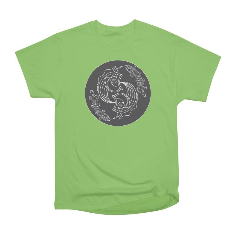 Deco Fish Twins Logo Black and White Men's Heavyweight T-Shirt by starstar's Artist Shop