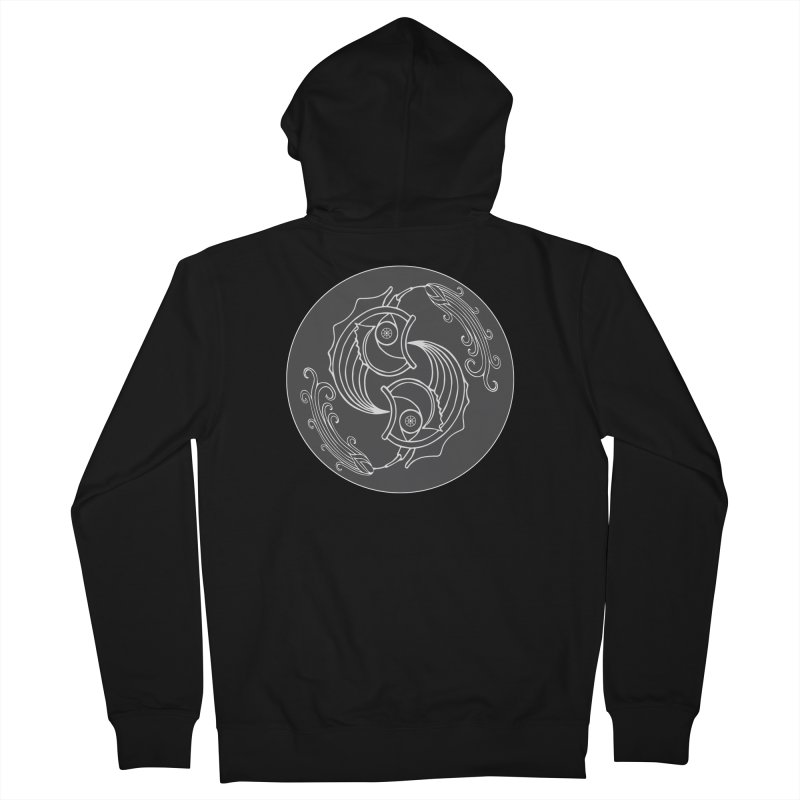 Deco Fish Twins Logo Black and White Men's French Terry Zip-Up Hoody by starstar's Artist Shop