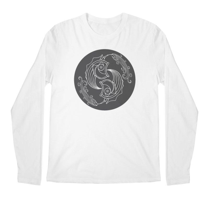 Deco Fish Twins Logo Black and White Men's Longsleeve T-Shirt by starstar's Artist Shop
