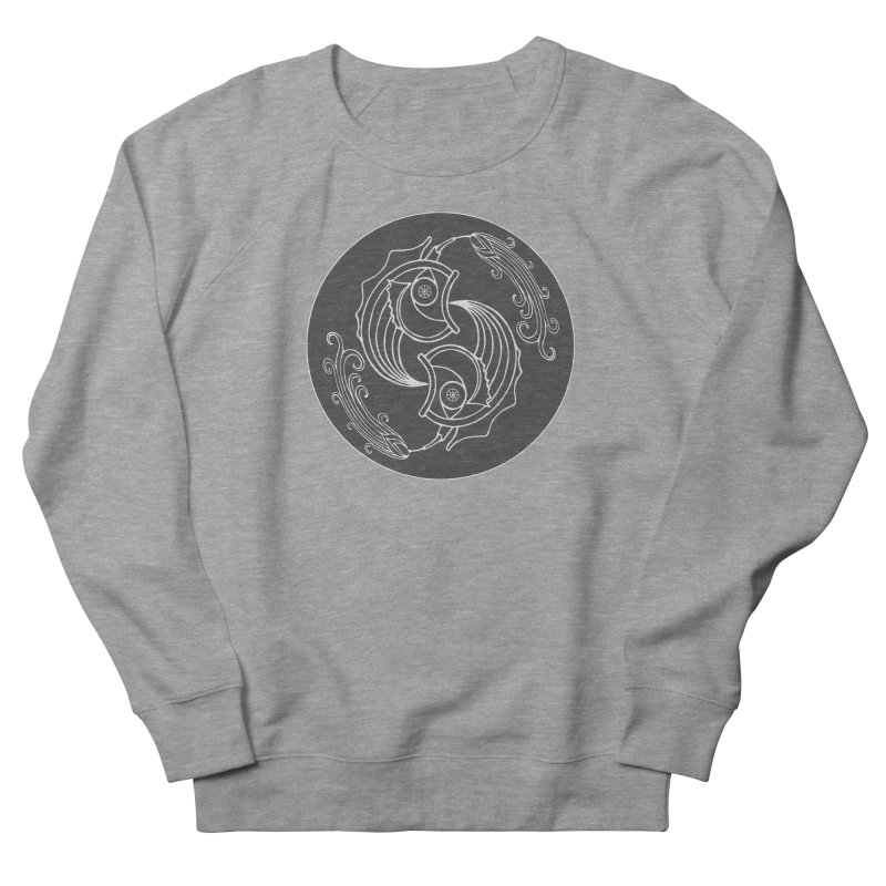 Deco Fish Twins Logo Black and White Women's French Terry Sweatshirt by starstar's Artist Shop