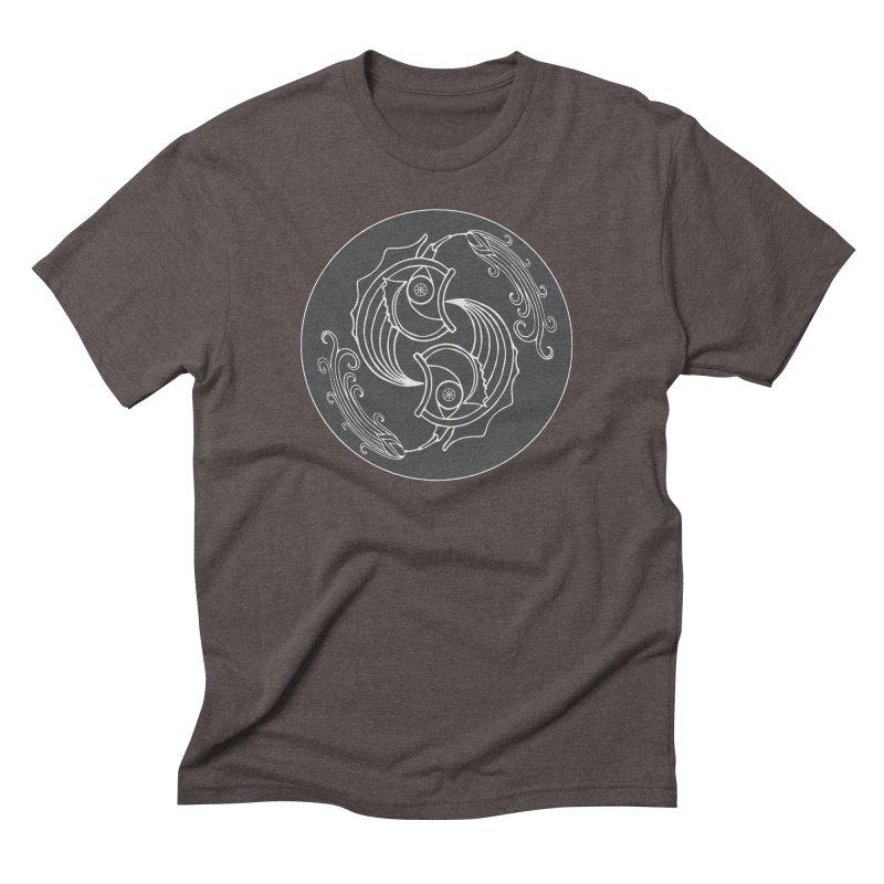 Deco Fish Twins Logo Black and White Men's Triblend T-Shirt by starstar's Artist Shop