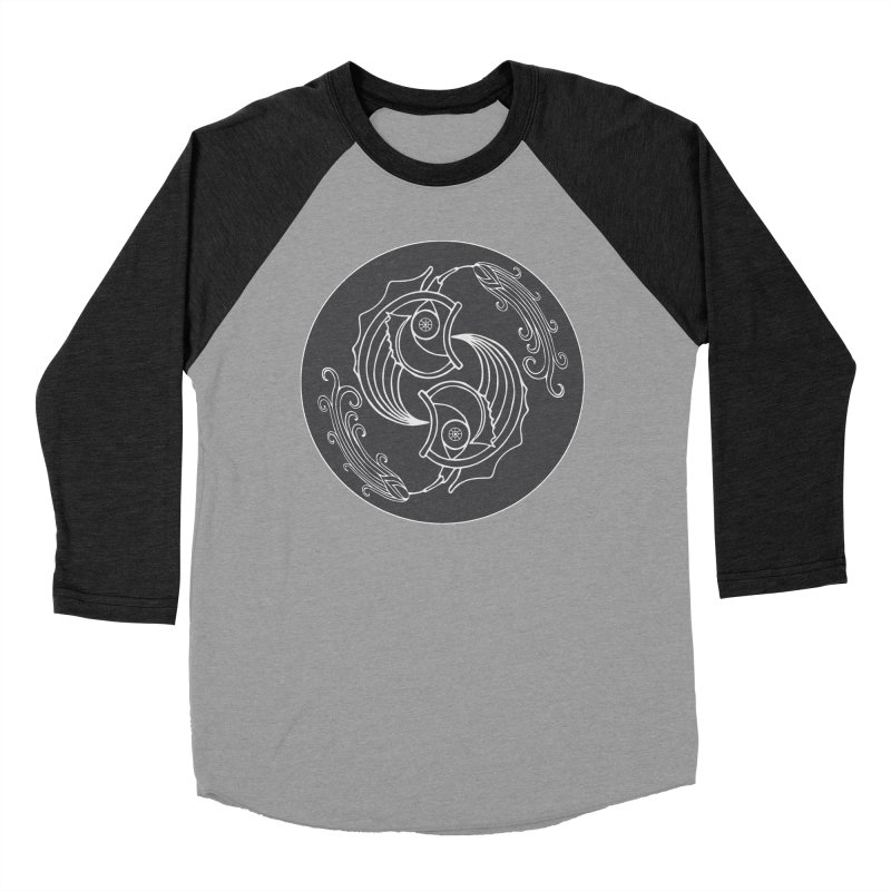 Deco Fish Twins Logo Black and White Women's Baseball Triblend Longsleeve T-Shirt by starstar's Artist Shop
