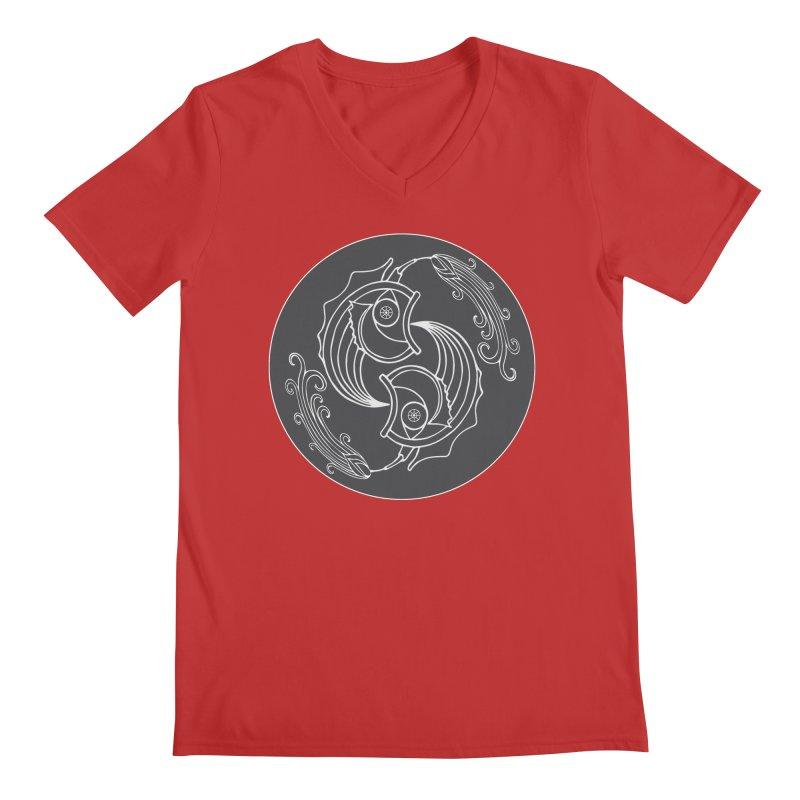 Deco Fish Twins Logo Black and White Men's V-Neck by starstar's Artist Shop