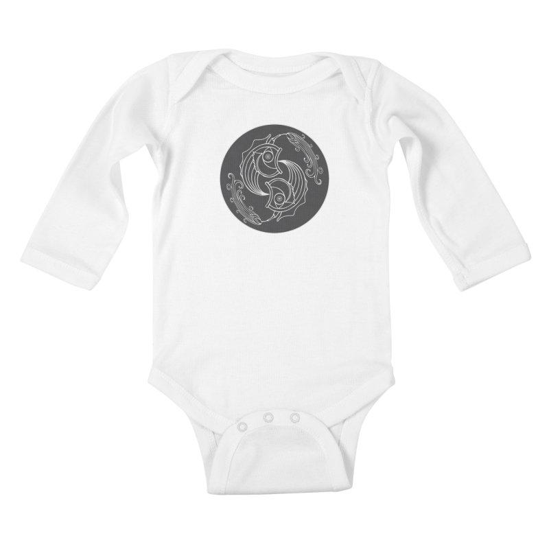 Deco Fish Twins Logo Black and White Kids Baby Longsleeve Bodysuit by starstar's Artist Shop