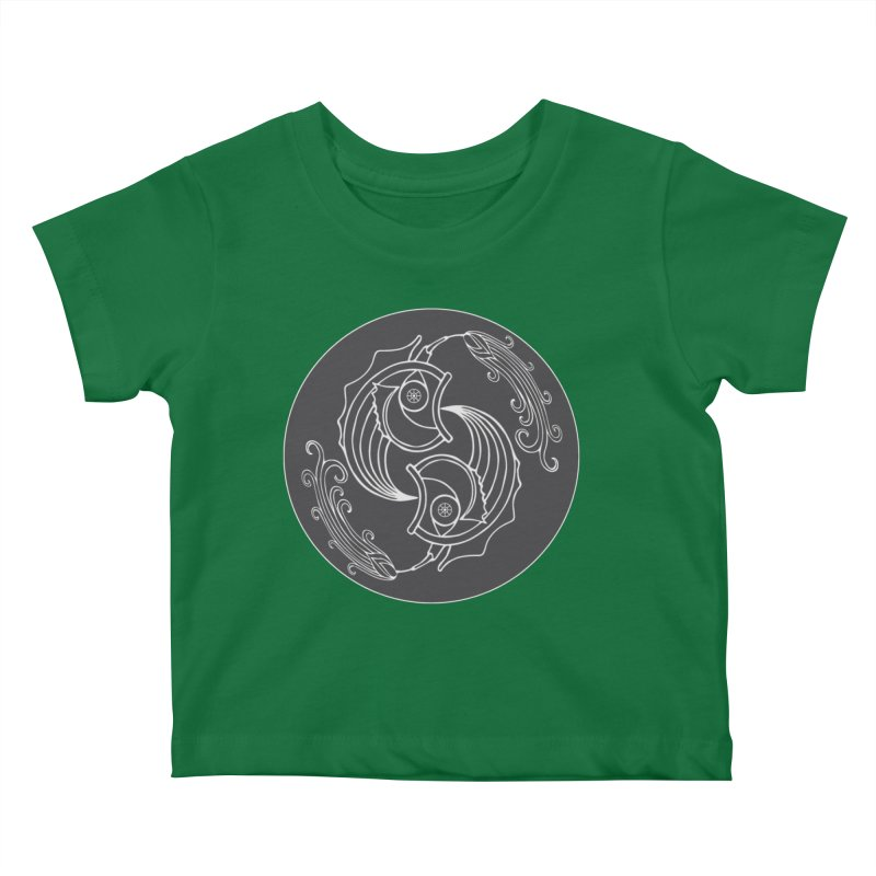 Deco Fish Twins Logo Black and White Kids Baby T-Shirt by starstar's Artist Shop