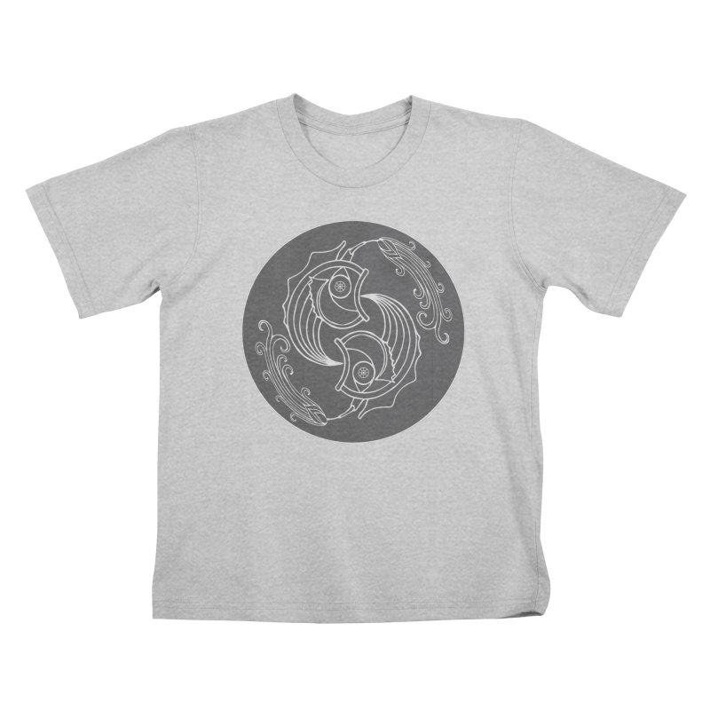Deco Fish Twins Logo Black and White Kids T-Shirt by starstar's Artist Shop