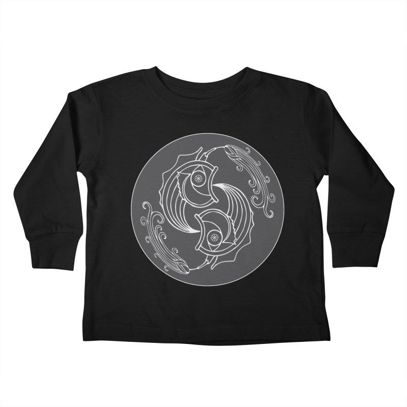 Deco Fish Twins Logo Black and White Kids Toddler Longsleeve T-Shirt by starstar's Artist Shop