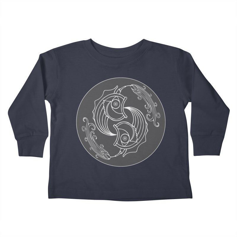 Deco Fish Twins Logo Black and White Kids Toddler Longsleeve T-Shirt by starstar's Artist Shop