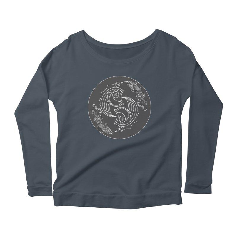 Deco Fish Twins Logo Black and White Women's Scoop Neck Longsleeve T-Shirt by starstar's Artist Shop
