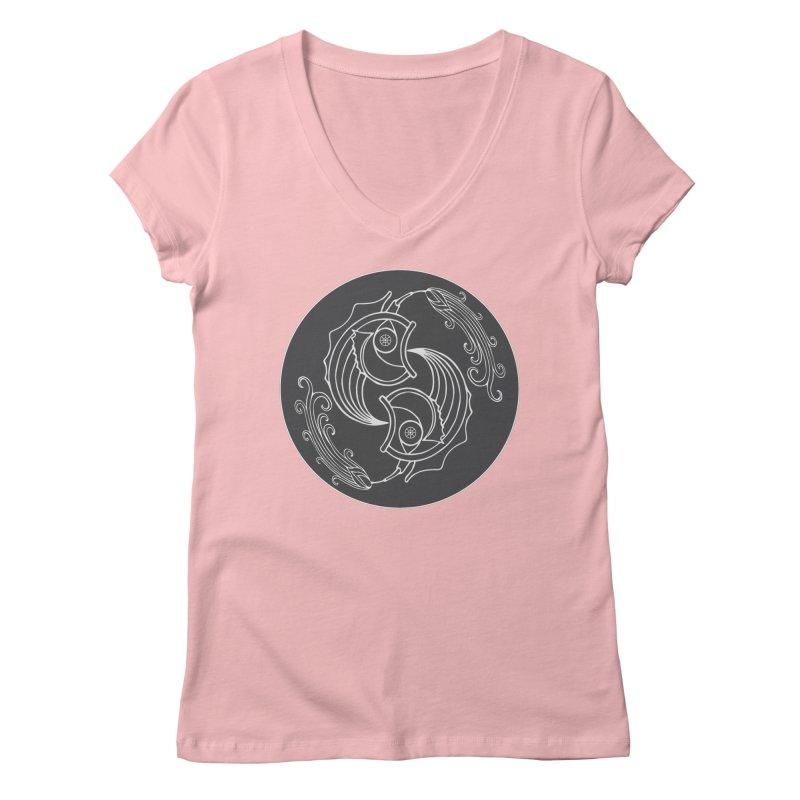 Deco Fish Twins Logo Black and White Women's V-Neck by starstar's Artist Shop