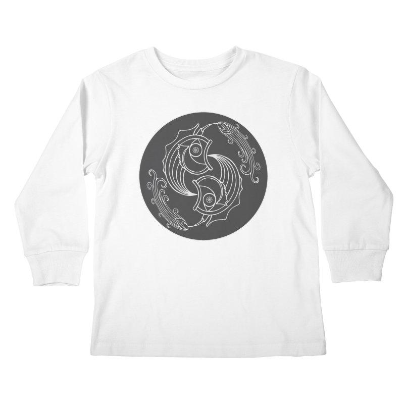 Deco Fish Twins Logo Black and White Kids Longsleeve T-Shirt by starstar's Artist Shop