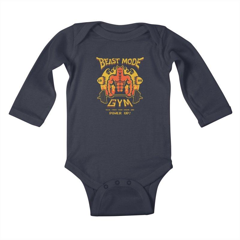 Beast Mode Gym Kids Baby Longsleeve Bodysuit by Stationjack Geek Apparel