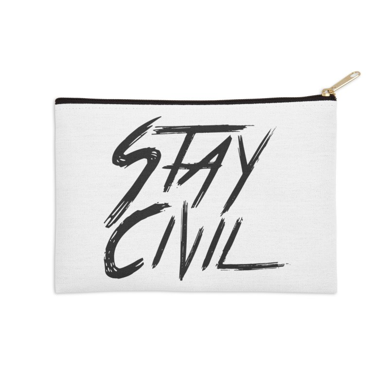 """Stay Civil"" Accessories Zip Pouch by Civil Wear Clothing"