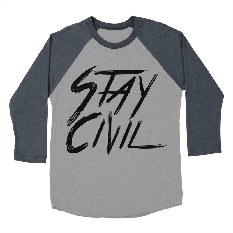"""Stay Civil"" Men's Baseball Triblend T-Shirt by Civil Wear Clothing"