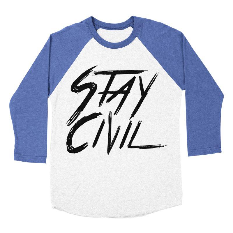 """Stay Civil"" Men's Baseball Triblend T-Shirt by Civil Wear Clothing"