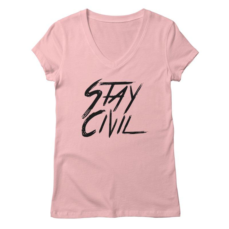 """Stay Civil"" Women's V-Neck by Civil Wear Clothing"