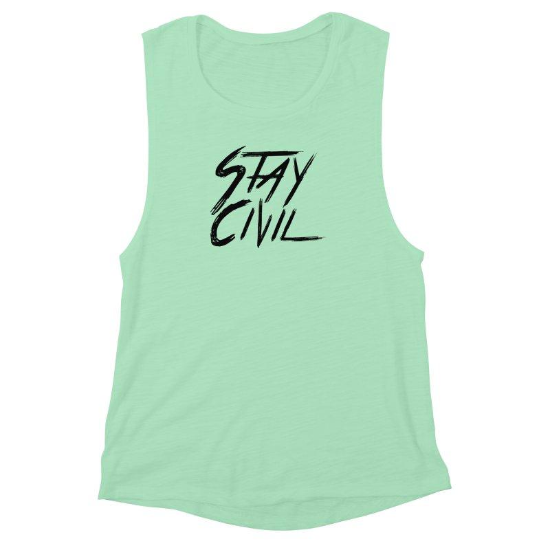 """Stay Civil"" Women's Muscle Tank by Civil Wear Clothing"