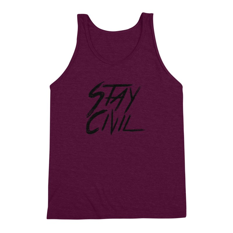 """Stay Civil"" Men's Triblend Tank by Civil Wear Clothing"