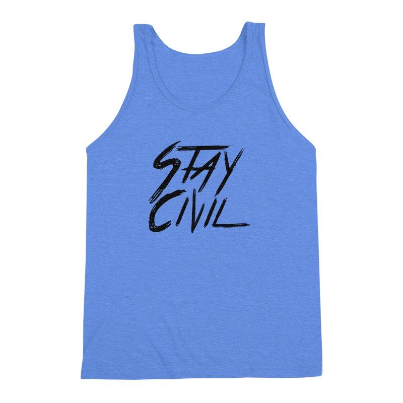 """Stay Civil"" Men's Triblend Tank by Civil Wear Clothing"