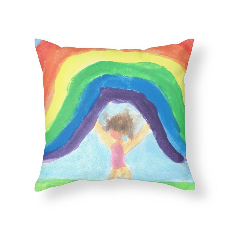 Rainbow Home Throw Pillow by St Baldricks's Artist Shop