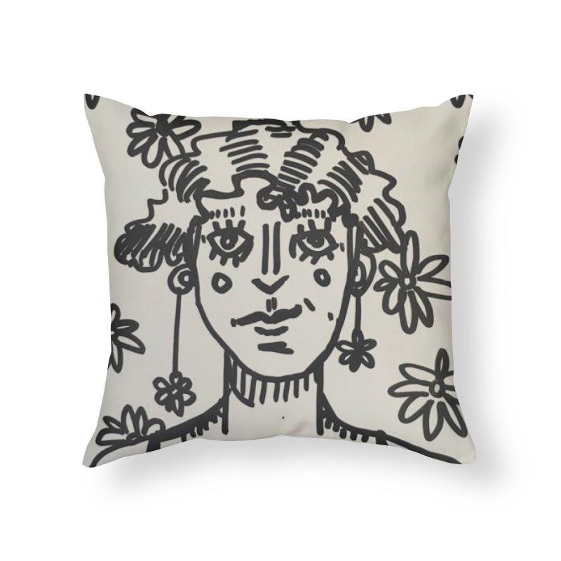Flower Girl Home Throw Pillow by St Baldricks's Artist Shop