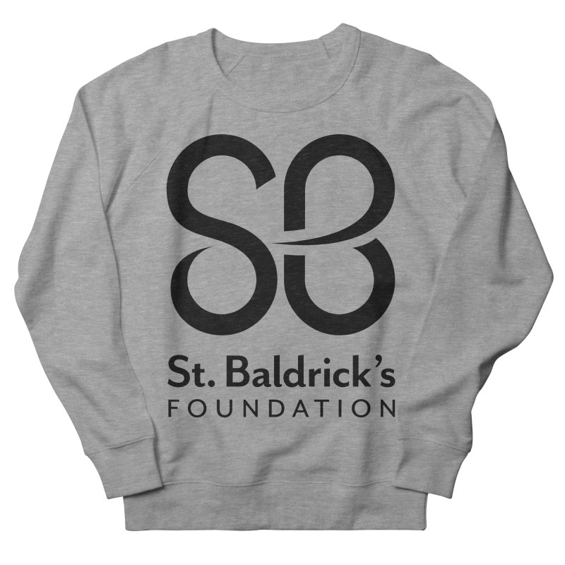 Black Stacked Logo Men's French Terry Sweatshirt by St Baldricks's Artist Shop