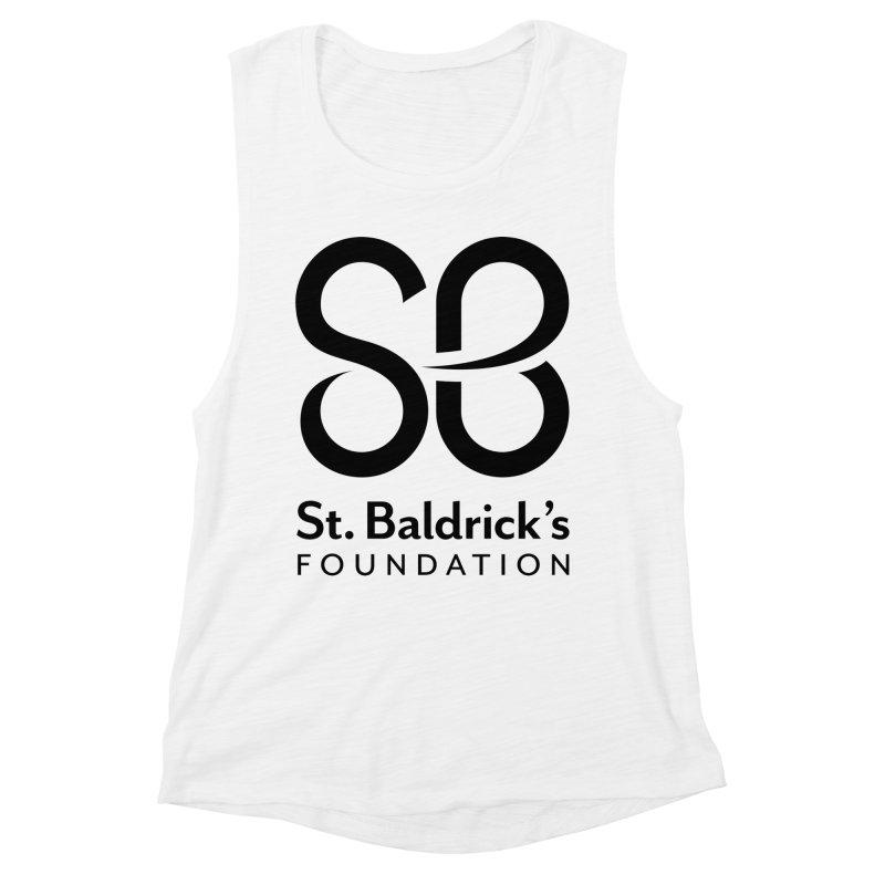 Black Stacked Logo Women's Muscle Tank by St Baldricks's Artist Shop