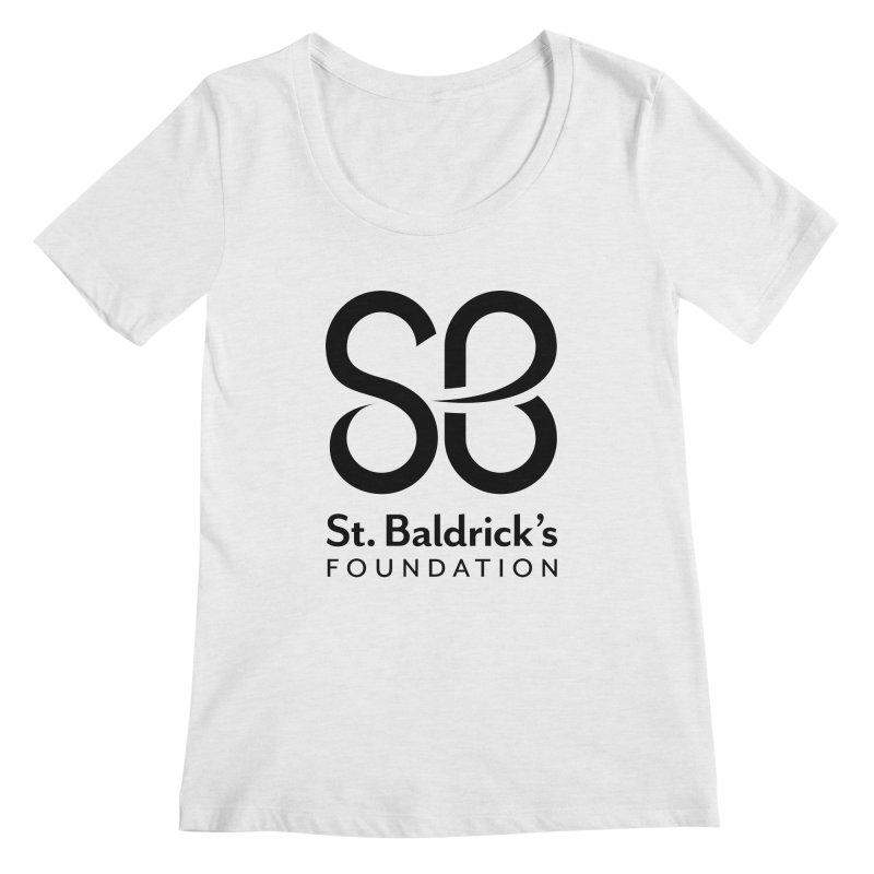 Black Stacked Logo Women's Regular Scoop Neck by St Baldricks's Artist Shop
