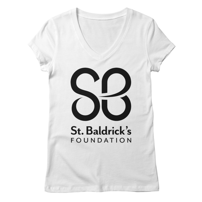 Black Stacked Logo Women's Regular V-Neck by St Baldricks's Artist Shop