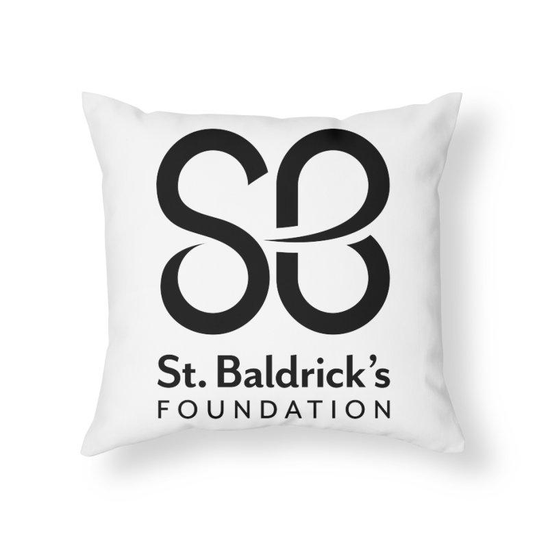 Black Stacked Logo Home Throw Pillow by St Baldricks's Artist Shop