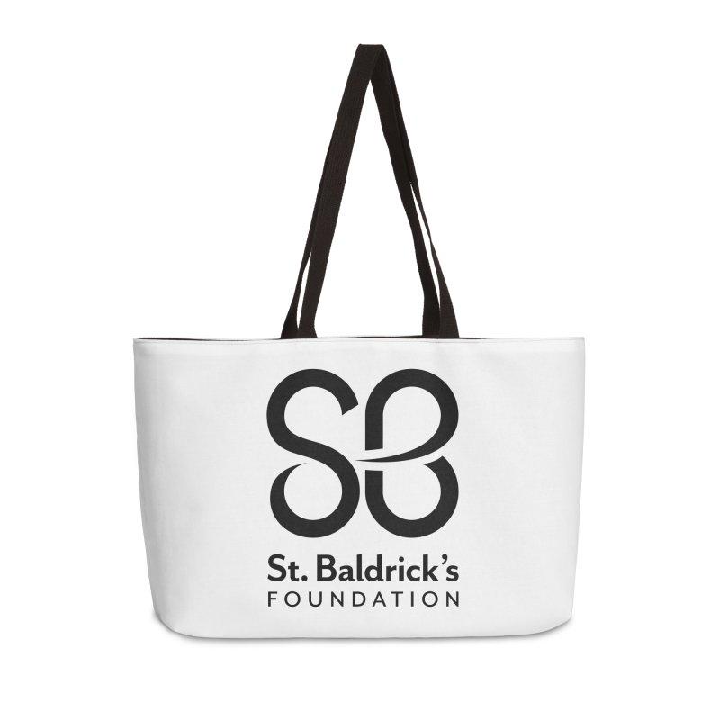 Black Stacked Logo Accessories Weekender Bag Bag by St Baldricks's Artist Shop