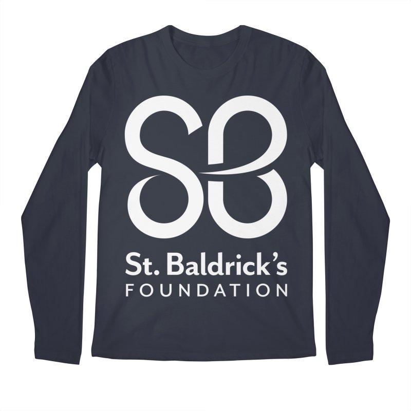 White Stacked Logo Men's Regular Longsleeve T-Shirt by St Baldricks's Artist Shop