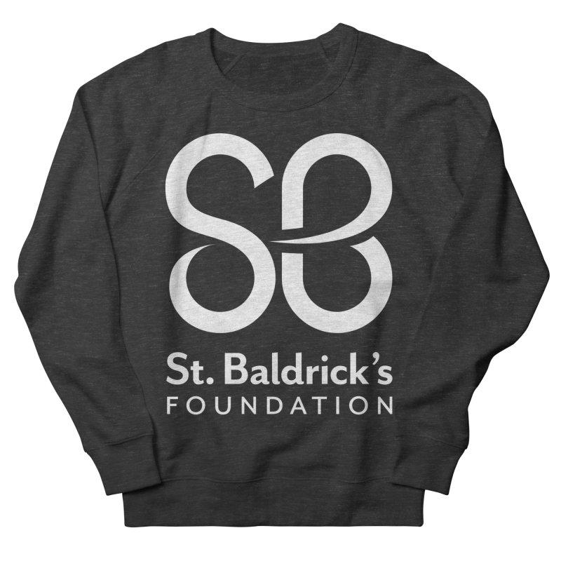 White Stacked Logo Women's French Terry Sweatshirt by St Baldricks's Artist Shop