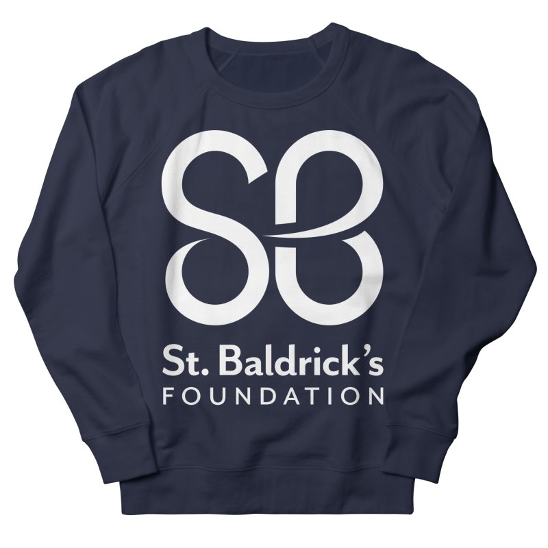White Stacked Logo Men's French Terry Sweatshirt by St Baldricks's Artist Shop